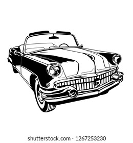 vintage car cabriolet 1950's style / vector illustration / isolated / logo / graphic