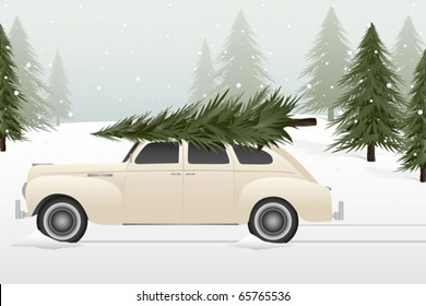 A vintage car with a Christmas tree on top