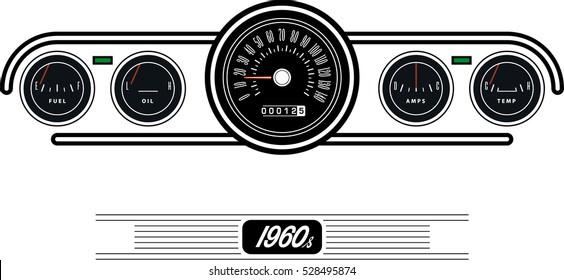 Vintage car dashboard - Illustration