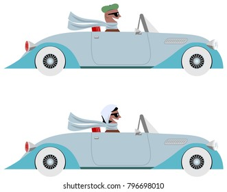 Vintage car and driver cartoon with happy man and happy woman