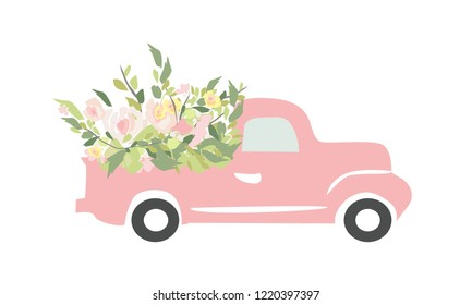 Vintage car with flowers. Engraving style. Vector illustration. Wedding car