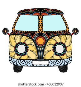 Vintage car. Hand drawn image. The popular bus model in the environment of the followers of the hippie movement. Vector illustration.