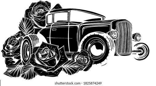 vintage car, hot rod garage, hotrods car,old school car, black silhouette