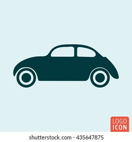 Vintage car icon. Retro automobile symbol. Vector illustration