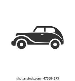 Vintage car icon in single grey color. Retro automotive collector