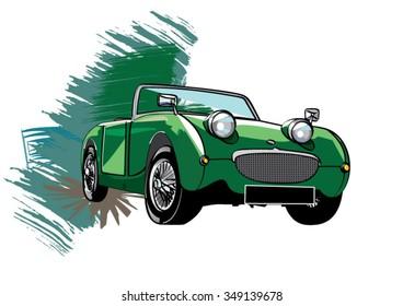 Vintage car. Illustrator 10 compatible .eps file.