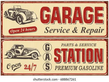 Vintage car metal sign collection.Garage,Gas Station retro poster.