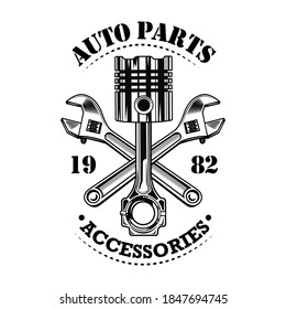 Vintage car parts vector illustration. Chrome piston, crossed wrenches build, auto parts and accessories text. Car service or garage concept for emblems or labels templates