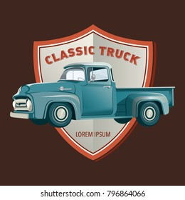 vintage car pickup truck badges vector illustration
