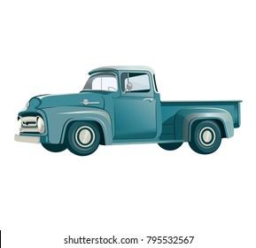 vintage car pickup truck vector illustration