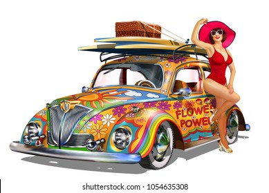 Vintage car with pin-up girl and surfboards.