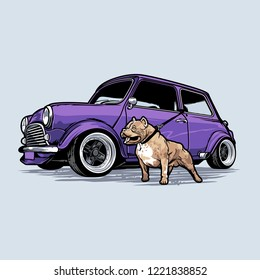 Vintage car with Pitbull dog