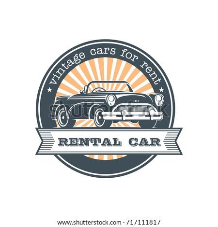 Vintage Car Rental Vector Logo Emblem Stock Vector Royalty Free
