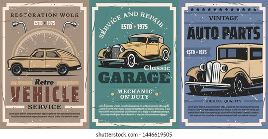 Vintage car repair service and auto vehicle spare parts vector posters. Retro cars with mechanic garage work tools, wrench, spanner and speedometer, automobile tuning and restoration workshop design