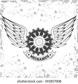 Vintage car repair service logo on white background. Vector illustration.
