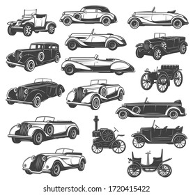 Vintage car and retro auto vector icons, old classic and antique vehicle of race sport and transport design. Muscle automobile models of coupe, cabriolet and rally sportcar, pickup, sedan, hatchback