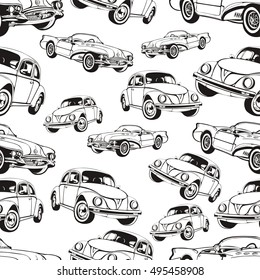 Vintage car seamless pattern, black and white retro cartoon background, coloring book, monochrome drawing. Black and white cars on a white background. For the design of wallpaper, wrapper, fabric