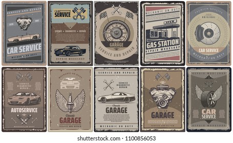 Vintage car service brochures collection with retro automobiles engine pistons flags gas station and auto parts isolated vector illustration