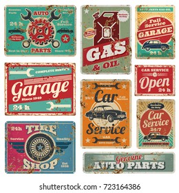 Vintage car service and gas station vector metal signs. Gas station for car, metal grunge banner illustration