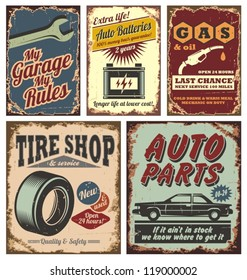Vintage car service metal signs and posters vector. Auto parts, gas, tire shop, garage, auto batteries.