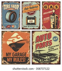 Vintage car service tin signs and posters on old rusty background. Retro auto service flyer collection.