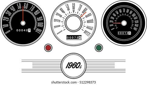Vintage car speedometer 1960s - Illustration