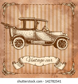 Vintage car in the style of engraving, drawn by ink
