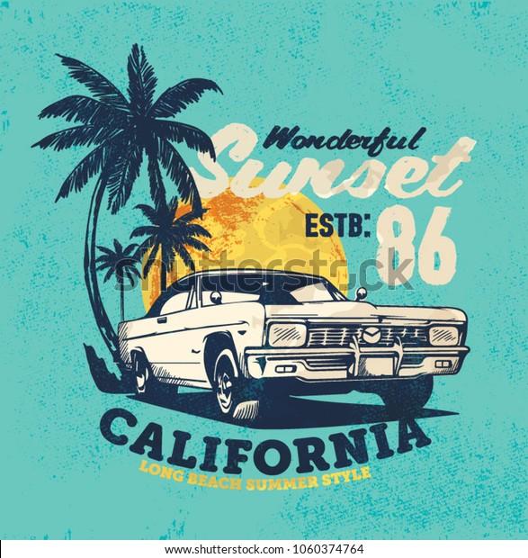 vintage car. sunset beach. illustration tee print design