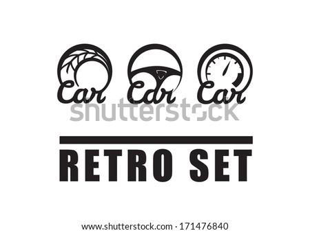 Vintage Car Symbols Retro Set Auto Stock Vector Royalty Free