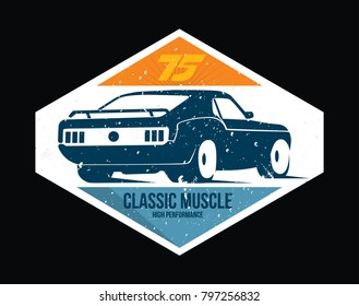 vintage car t shirt vector