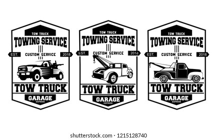 Vintage car tow truck emblems, labels and design elements.set of tow truck logo design template