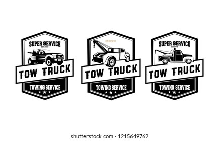 vintage car tow truck emblems, labels and design elements,pickup truck logos, emblems and icons. Car service logotype design. Tow and wrecker truck. Pickup with snow plow.