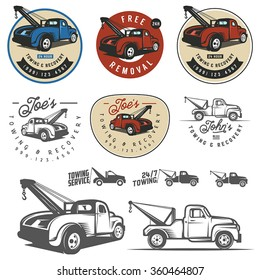 Vintage car tow truck emblems, labels and design elements