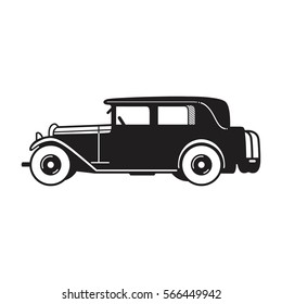 Vintage car vector icon. Limousine sedan type old timer from 1930s. Transport or vehicle design template.