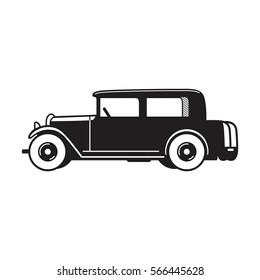 Vintage car vector icon. Sedan type old timer from 1930s. Transport or vehicle design template.