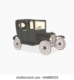 Vintage car vector illustration. Black car isolated on the light background