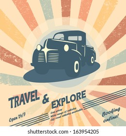 Vintage car vector illustration for car rental flyers or leaflet design with space for text.