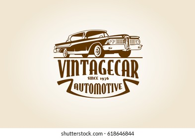 Vintage Car Vector Logo Template with the image of the retro classic car for your company.