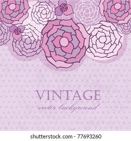 Vintage card with abstract violet roses