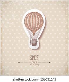 Vintage card with balloon on dotted beige background. Vector illustration.