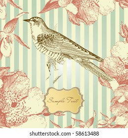 vintage card with a bird