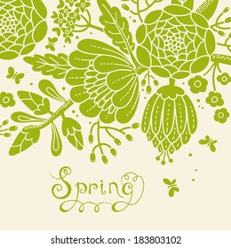 Vintage card with a blossoming branch. Vector illustration.