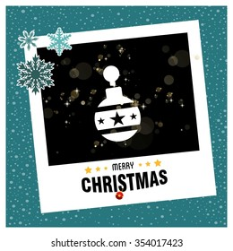 Vintage card with Christmas balls. vector illustration, Christmas Ball Ornaments card Design,  photo frame with Snowflake border and creative typography in footer on glowing Vector background.