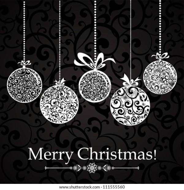 Vintage card with Christmas balls. vector illustration
