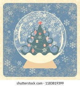 Vintage card. Crystal Snowball. Decorated Christmas tree. Snowflakes background. Grunge texture. Ivory elements, muted blue background, frame. For New Year and Christmas projects