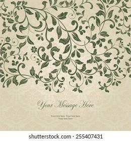 vintage card with damask background and elegant floral elements
