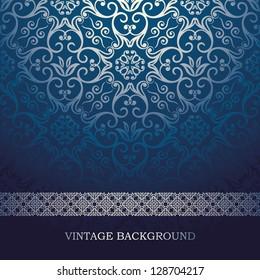 Vintage Card with damask background, luxury blue design