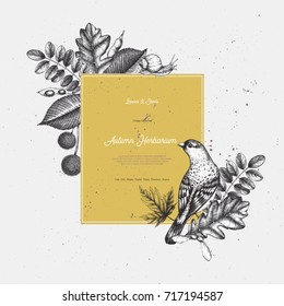 Vintage card design with bird. Hand drawn leaves and seeds illustration. Vector autumn template. Wedding invitation.
