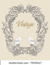 vintage card design with a bold frame with two little birds