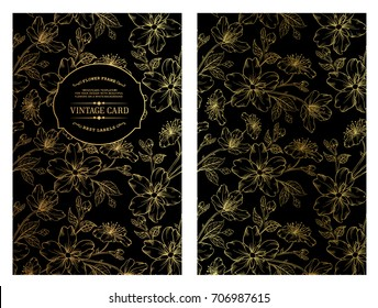 Vintage card design with gold floral pattern on the dark background. Blossom flowers for you personal cover. Dark theme with gold lines for invitation. Vector illustration.